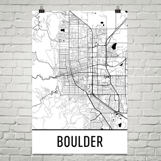 Boulder CO Street Map Poster White