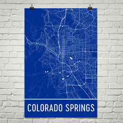 Colorado Springs Street Map Poster Blue