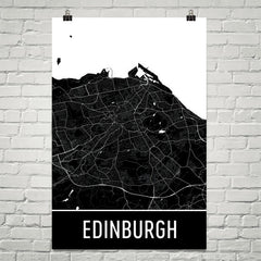 Edinburgh Scotland Street Map Poster Black