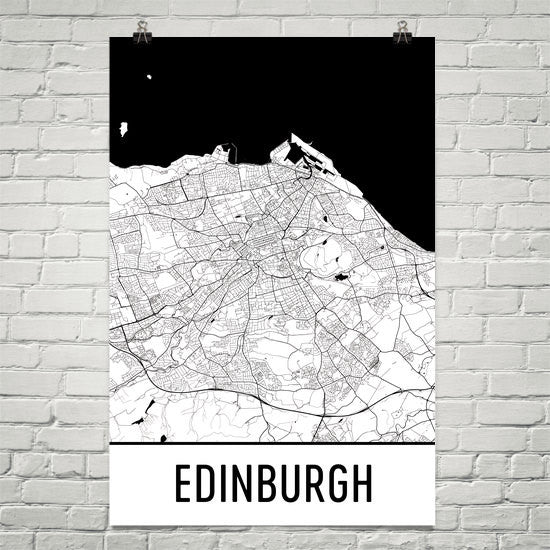 Edinburgh Scotland Street Map Poster White