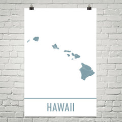 Hawaii USA Street Map Poster Blue