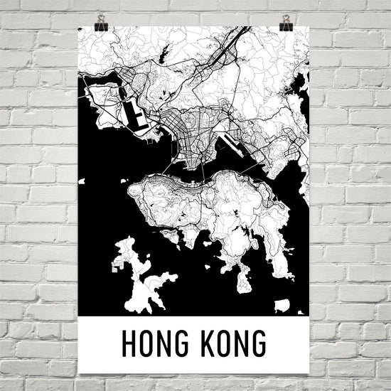 Hong Kong HK Street Map Poster Black