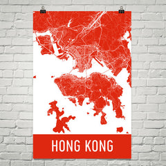 Hong Kong HK Street Map Poster Red