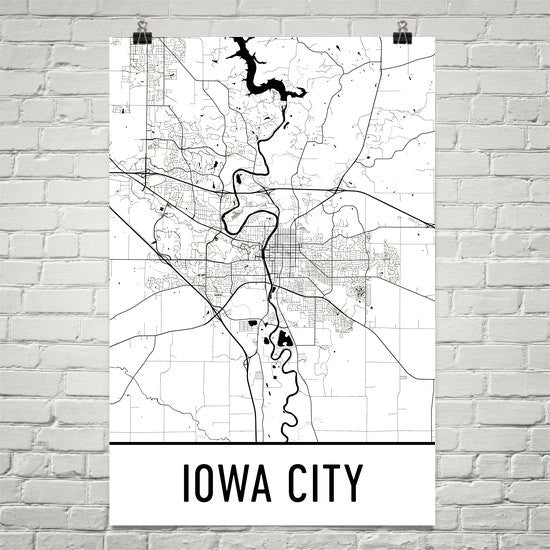 Iowa City IA Street Map Poster White