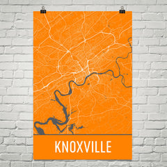 Knoxville TN Street Map Poster Black
