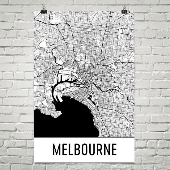 Melbourne  Street Map Poster White