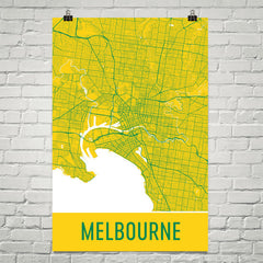 Melbourne  Street Map Poster Yellow