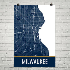 Milwaukee WI Street Map Poster Black