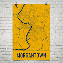 Morgantown WV Street Map Poster Yellow