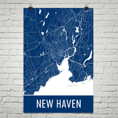 New Haven CT Street Map Poster Blue