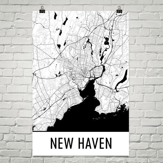 New Haven CT Street Map Poster White