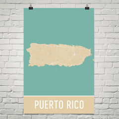 Puerto Rico Street Map Poster Blue