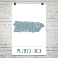 Puerto Rico Street Map Poster White