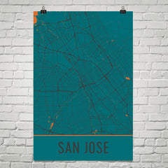 San Jose CA Street Map Poster Teal