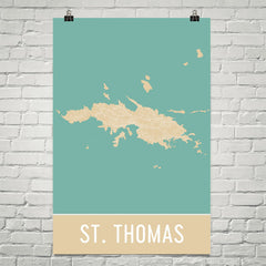 St. Thomas Street Map Poster Blue