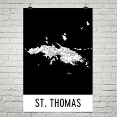St. Thomas Street Map Poster Tan and Blue