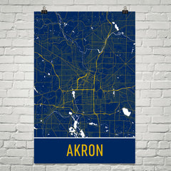 Akron Ohio Map, Art, Print, Poster, Wall Art From $29.99 - ModernMapArt - Modern Map Art