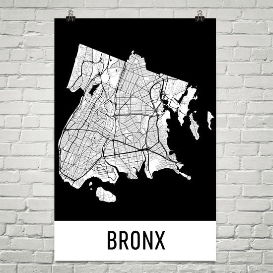 Bronx NY Street Map Poster White
