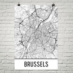 Brussels Belgium Street Map Poster White