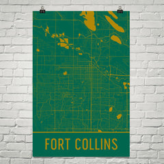 Fort Collins CO Street Map Poster Green