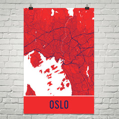 Oslo Norway Street Map Poster Red