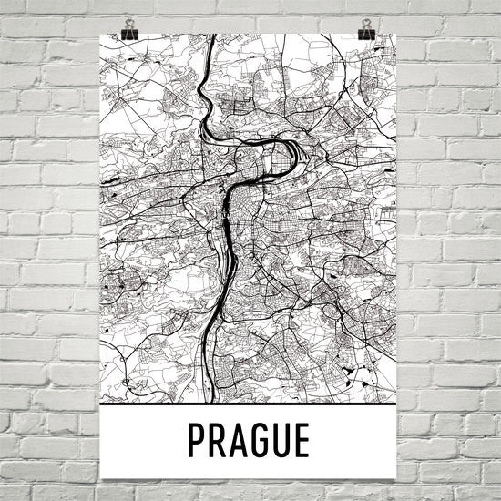 Prague Street Map Poster White