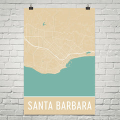 Santa Barbara CA Street Map Poster Blue
