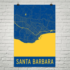Santa Barbara CA Street Map Poster Tan and Blue