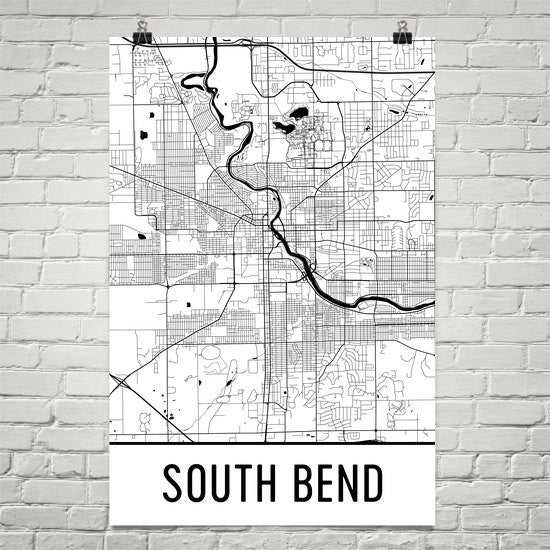 South Bend IN Street Map Poster White