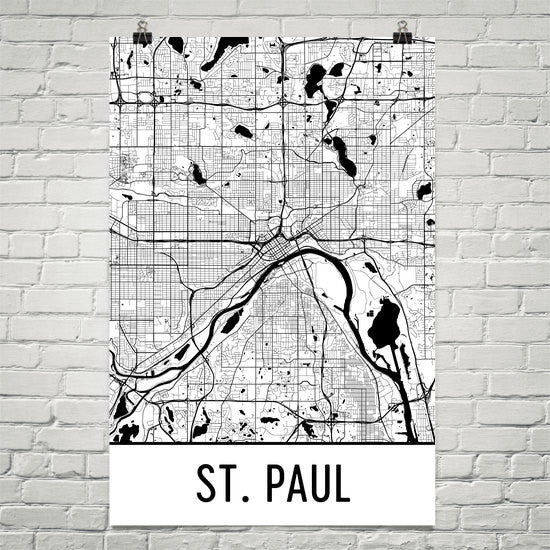 St. Paul MN Street Map Poster White
