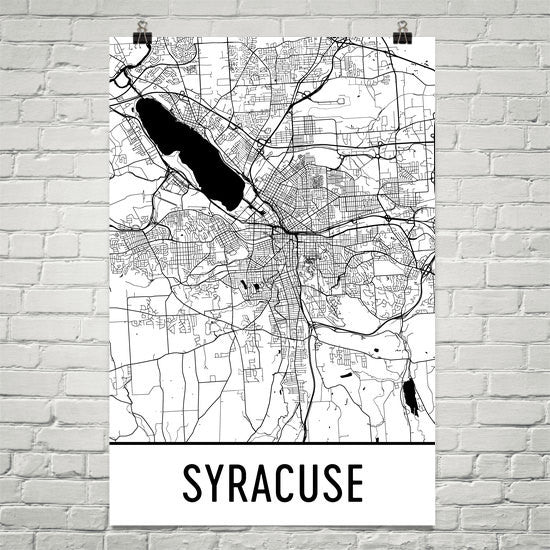 Syracuse NY Street Map Poster White