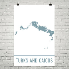 Turks and Caicos Street Map Poster White