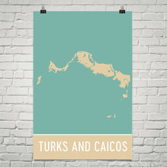 Turks and Caicos Street Map Poster Black