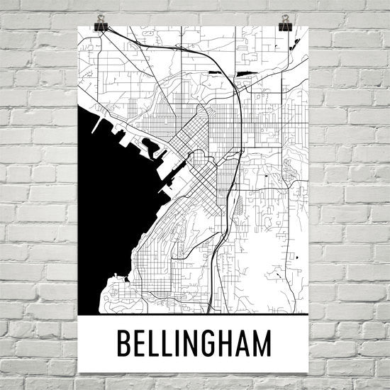 Bellingham WA Street Map Poster White