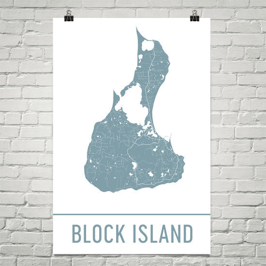 Block Island RI Street Map Poster White