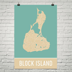 Block Island RI Street Map Poster Black