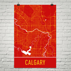 Calgary AB Street Map Poster Red