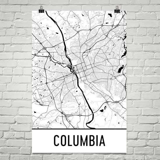 Columbia SC Street Map Poster White