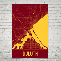 Duluth MN Street Map Poster Red