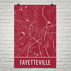Fayetteville AR Street Map Poster Red