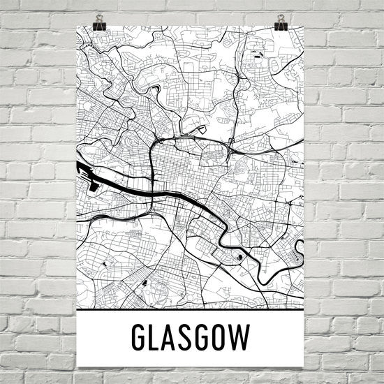 Glasgow Street Map Poster White