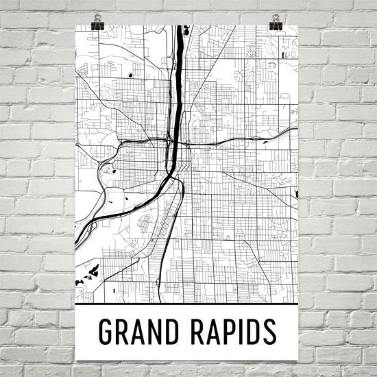 Grand Rapids MI Street Map Poster White