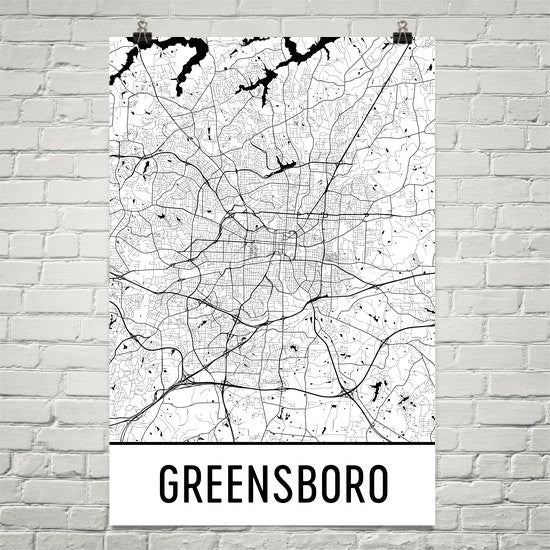 Greensboro NC Street Map Poster White