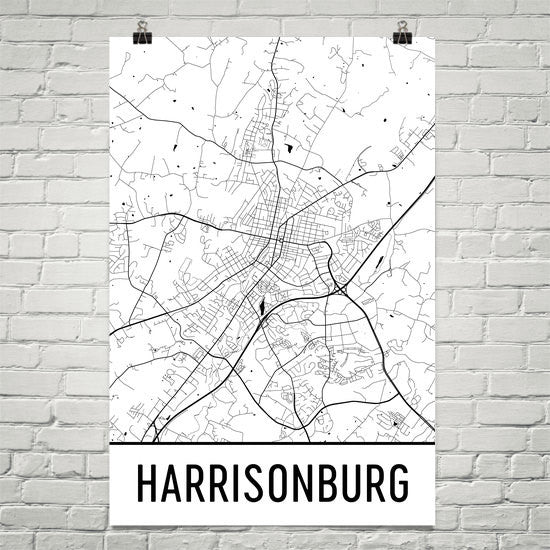 Harrisonburg VA Street Map Poster White
