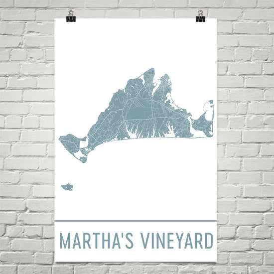 Martha's Vineyard Street Map Poster White