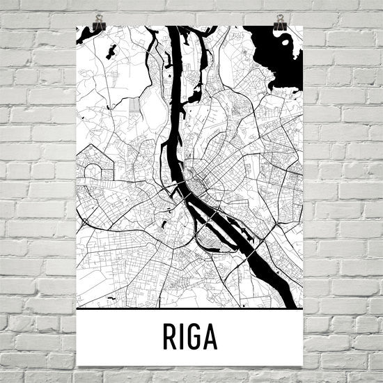 Riga Latvia Street Map Poster White
