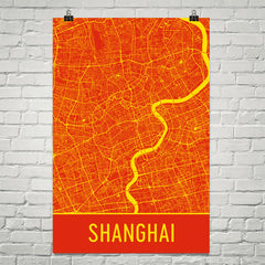 Shanghai Street Map Poster Red