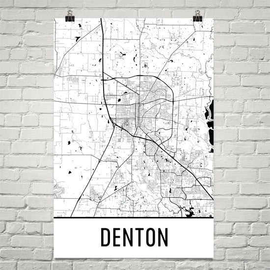 Denton TX Street Map Poster White