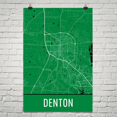 Denton TX Street Map Poster Green