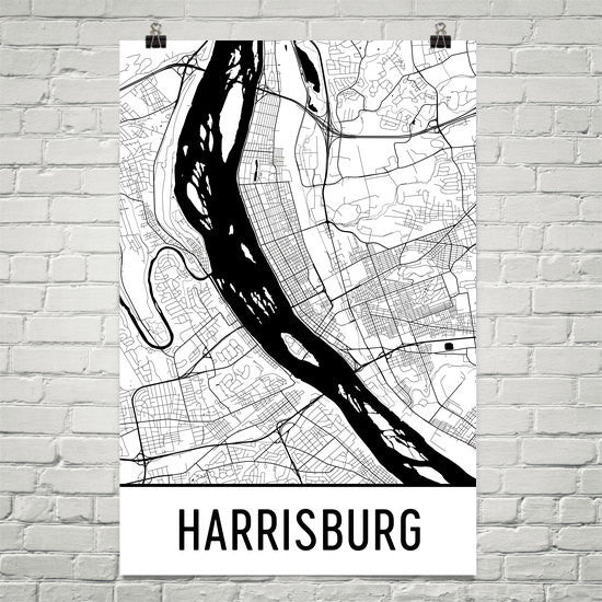 Harrisburg PA Street Map Poster White